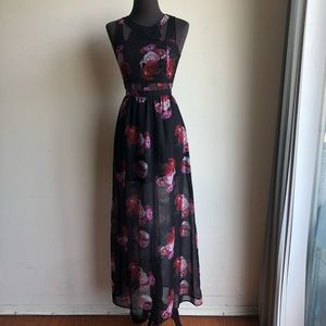 H&M sz 4 floral waist cut out maxi dress